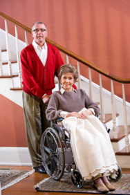 man with wife in wheelchair