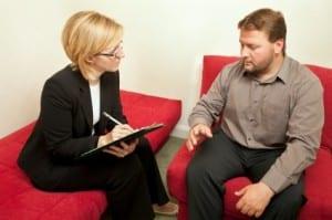 social worker interviewing patient