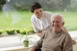 senior patient with dementia receiving care