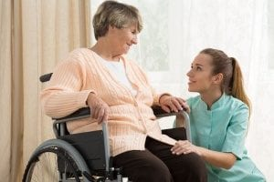senior who is being cared for by an in-home caregiver in Rockville, MD