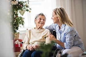 a patient with rapid onset dementia receiving help from an in-home care agency