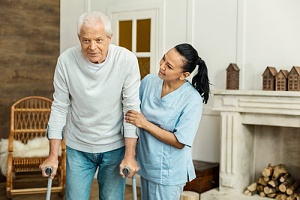 caregiver and patient going through the in home caregiver schedule