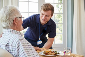 older man satisfied with the right in home care agency