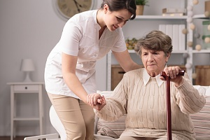 woman happy with her in home care