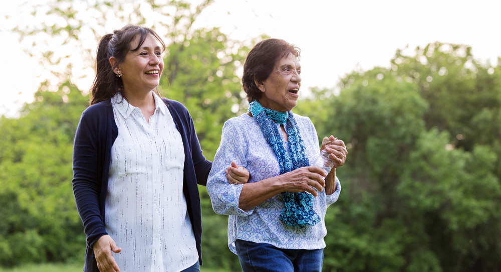 Caring for mom with walk in the park